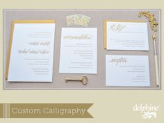 Custom Calligraphy by Feast Wedding Invitations via Delphine