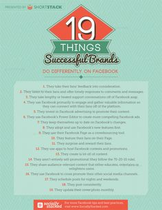 19 Things Successful Brands Do Differently on Facebook This visual from ShortStack team packed with insights into how successful brands are leveraging Facebook to its fullest potential. Like: They listen to their fans and followers, and offer timely responses to comments and messages.