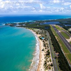 This is the SJU International airport to the right and the Isla Verde Beach at the left.  Piñones area at the end!