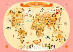 Map monde enfant : Around the World, Julie Mercier - L'Affiche Moderne