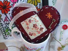 Ruby Hand made Fabric Heart Flower applique Key embroidery Valentines by Anita £5