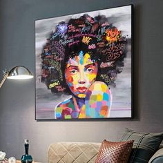 The Graffiti African Girl With Letters Wall Art is an ideal art for exhibition in your living room, lounge and any other place you like. Graffiti Girl, Graffiti Wall Art, Graffiti Painting, Painting Frames, Art Paintings, Spray Painting, Painting Art, Canvas Letters, Letter Wall Art