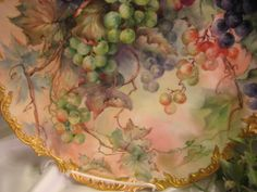 """Breathtaking Antique Limoges France Hand Painted Still Life Masterpiece Luscious Grapes 15 5/8"""" Wall Plaque Charger Highly Collectible China Painting Artwork Heirloom Treasure Circa 1900"""