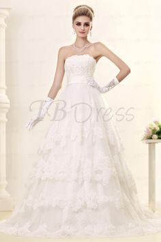 $ 160.99 Gorgeous A-line Strapless Chapel Train Tiered Dasha's Wedding Dress