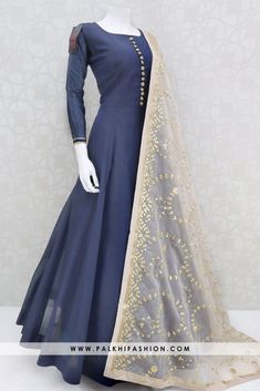 Palkhi fashion navy blue silk outfit with handcrafted stone work on top.This outfit comes with beige attractive gota work duppata with appealing pattern Pakistani Fashion Party Wear, Pakistani Dresses Casual, Indian Gowns Dresses, Indian Fashion Dresses, Dress Indian Style, Pakistani Dress Design, Indian Designer Outfits, Indian Outfits, Designer Anarkali Dresses