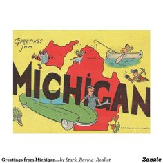 Greetings from Michigan Vintage Travel Tourism Art Postcard