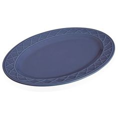 Paula Deen Blue Savannah Trellis Stoneware Oval Serving Platter ($30) ❤ liked on Polyvore featuring home, kitchen & dining, serveware, blue, blue dish, stoneware serving platter, holiday dishes, oval dish and paula deen