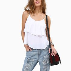 Ruffle 2017 Women Sexy Summer Camis V-neck Off Shoulder Sleeveless Casual Camisoles Backless Holiday Beach Tops Female #Affiliate