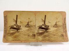 Stereoview 1898 - US NAVY SPANISH AMERICAN WAR USS BATTLESHIP INDIANA