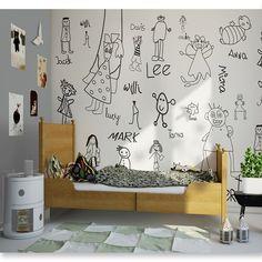 Stop nudzie na ścianach! Mural przyjaciele ożywi wnętrze w biało-czarnym stylu <3