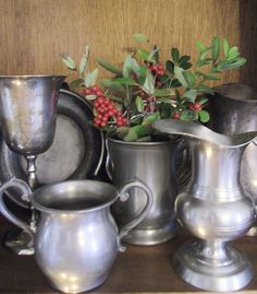 Pewter & simple with fresh holly~