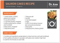 Salmon Cakes, Dr. Axe Recipe card