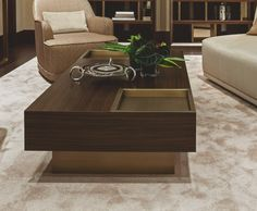 Low table Yves by Oasis, design by Massimiliano Raggi. Available with a wooden finish or lacquered with bronze trays.