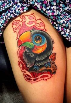 Tattoo colorful parrot thigh   #Tattoo, #Tattooed, #Tattoos