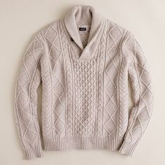 Cable shawl-collar sweater