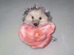 Needle Felted Hedgehog Sculpture by Fiber Artist by GourmetFelted