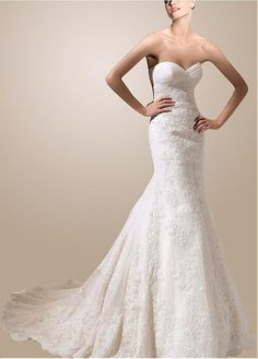 FANTASTIC SATIN TULLE MERMAID SWEETHEART NECKLINE WEDDING DRESS WITH LACE APPLIQUES LACE BRIDESMAID PARTY
