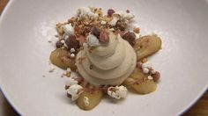 An ode to the King's favorite sandwich: Peanut Butter Mousse with Grilled Banana and Maple Bacon Crumb
