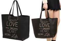 Red Valentino Beauty Love Dreams Heart Desire Life Bag  Add some positive quotes in your wardrobe.  #redvalentino #positivequotebag #positivefashion #bragmybag #totes #shoppingbag #everdaybag #studs