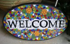 Stained Glass Mosaic Welcome Sign by artsyphartsy on Etsy