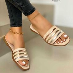 Heel Height Type:Flat Heel Upper Material:Leather Sandals Style:Slide Sandals Shoes Style:Slip-On Heel Height:Flat Shoes Flats Sandals, Low Heel Sandals, Pumps Heels, Slide Sandals, Prom Heels, Flat Sandals, Wedge Heels, Stiletto Heels, High Heels