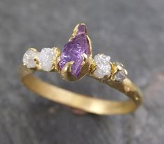 Raw Sapphire Diamond 18k Gold Engagement Ring Wedding Ring Custom One Of a Kind Purple Gemstone Ring Three stone Ring