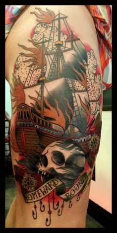 Homeward Bound Skull Tattoo by Alix Ge Cover Up Tattoos For Men, Tattoos For Guys, Skull Tattoos, Tatoos, Pencil Art, Coffin, Tatting, Ink, Ship