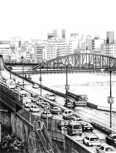 Manga author Kiyohiko Azuma also creates beautiful black and white architectural drawings that show incredible detail. See more of his urban sketches. Cityscape Drawing, City Drawing, Manga Drawing, Painting Abstract, Acrylic Paintings, Abstract Landscape, Manga Boy, Manga Anime, Male Manga
