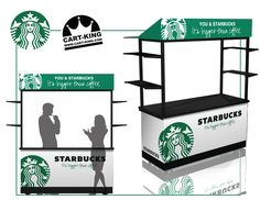 Starbucks coffee kiosk. A simple but powerful design to provide quick on the spot marketing and coffee vending possibilities at fairs, public events etc. www.Cart-King.com