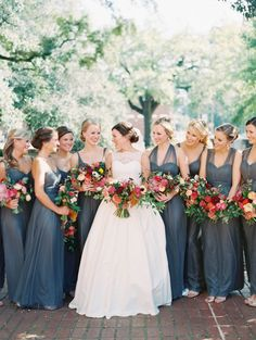 27 blue fall wedding ideas to stand out Slate Blue Bridesmaid Dresses, Red Bridesmaids, Wedding Bridesmaid Dresses, Dress Wedding, Blue Dresses, Steel Blue Weddings, Dusty Blue Weddings, Blue Fall Weddings, Fall Wedding Colors