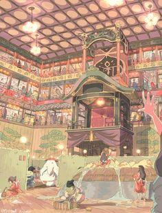 Spirited Away - Studio Ghibli / Hayao Miyazaki Hayao Miyazaki, Studio Ghibli Art, Studio Ghibli Movies, Film Anime, Anime Art, Studio Ghibli Collection, Chihiro Y Haku, Howls Moving Castle, My Neighbor Totoro