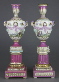 PAIR ANTIQUE BERLIN URN SHAPED CANDLESTICK VASES 19TH C. http://www.ebay.com/itm/RARE-ELEGANT-PAIR-ANTIQUE-BERLIN-URN-SHAPED-CANDLESTICK-VASES-19TH-C-/121144193036?_trksid=p2054897.l4275