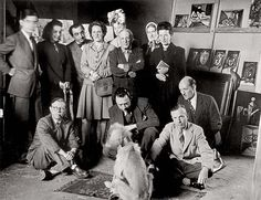 Jean-Paul Sartre, Simone de Beauvoir, Pablo Picasso, Albert Camus and others posing for the camera with Afghan Hound named Kazbek owned by Picasso in Dora Maar, Albert Camus, Pablo Picasso, Jean Paul Sartre, Michel Leiris, Brassai, Photo Portrait, Afghan Hound, Cecile