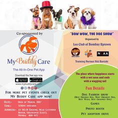 """My Buddy Care partners with """"""""Bow Wow - Dog Show"""". Bring your buddy for the dog fashion show and spend some quality time pampering your buddy. Download the MyBuddyCare app for more pet events in Mumbai..  #mybuddycare #bowwow #leobombayuptown#leoevents #wheelofchange #prouduptowners#dogshow #lcbombayuptown #unitedMD323 #doglovers #adoptiondrive #dogshow#dogadoptiondrive #puppylove #pawzupthepetshop#agilitytraining #neaa #mbcbowwow17 #petlovers#puppylove #buddylove #dogshow #doglovers #dog…"""