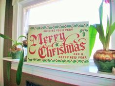 Vintage Merry Christmas Store Sign 1950s 22 x by RedRiverAntiques