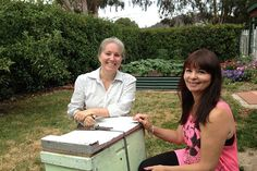 Beekeeper Carmen Pearce-Brown with Adele Haussmann _ host of the first Canberra Urban Honey Hive :-)