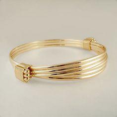 Bracelets 98480: 14/20 Yellow Gold Filled 2 Knot 3 Strand Elephant Hair Style Safari Bracelet BUY IT NOW ONLY: $145.0