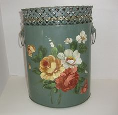 Just added today---Vintage Green Tole Painted Metal Tin Painted by flyingdollar, $24.99 Very reasonable price.