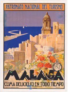 Cartel de #turismo de España del año 1929, #Malaga #Andalucia