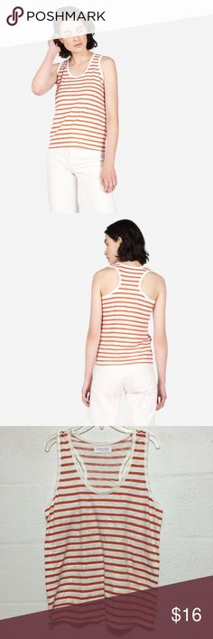 "Everlane Gia Tank Sz M Everlane Gia Tank in red/white stripe, size medium. Excellent condition, no flaws. Measures approx. 17.5"" pit to pit. Originally retailed for $30. Super cute staple that will never go out of style! First two pictures are stock to show the fit. Everlane Tops Tank Tops"