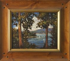 Jan Schmuckal Tonalist Impressionist Artist | sailboats | pines | Lake Arrowhead |  Sold through The Lake House Collection, at Lake Arrowhead