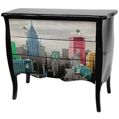 Colourful Manhattan Skyline Three Drawer Cabinet.   For us NYC wannabes