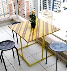 mesa amarela diy - madeira e pvc - mesas feito-a-mao