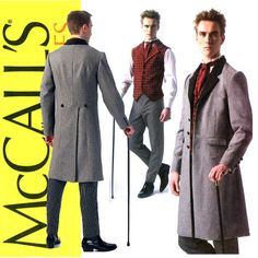 Mens Victorian Waistcoat Pattern Uncut Chest 34 to by CynicalGirl  Long jacket, very full vest, ascot, buttons on back of jacket