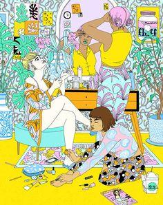 Laura Callaghan é uma ilustradora britânica com sede em Londres, que usa uma mistura de aguarela, marcadores e caneta, sempre usando garotas em suas composições.