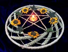 Pagan Handfasting Gift. Litha Lammas Wheat & Sunflower Pentacle Altar Wreath
