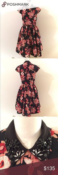 """Kate Spade floral printed dress Kate Spade floral printed dress with embellished collar. Super cute and flirty! It's a little big at busy so I tried to take it in from inside but it took back out. There's an imprint on the inside from when I took it in (see last photo), but you can't tell from outside at all. Size 4. 17"""" bust (measured flat). ❌trades ❌transactions via personal email ⭕️reasonable offers kate spade Dresses Mini"""