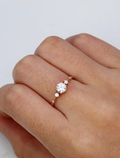 Moissanite engagement ring Vintage Unique diamond Cluster ring white gold wedding Delicate Bridal set Promise Anniversary Gift for women Moissanite Verlobungsring Vintage Unique Diamant Cluster Gold Diamond Wedding Band, Rose Gold Engagement Ring, Engagement Ring Settings, Vintage Engagement Rings, Moissanite Engagement Rings, Engagement Bands, Minimalistic Engagement Ring, Gold Simple Engagement Ring, Popular Engagement Rings