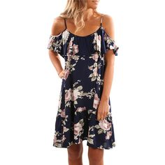 Summer Bohemian Floral Print Women Dress Butterfly Sleeve Strap Loose Casual Pleated Dress Female Ruffles Blue White Vestidos-in Dresses from Women's Clothing & Accessories on Aliexpress.com | Alibaba Group