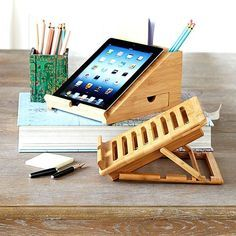 Wisteria - Accessories - Shop by Category - Office & Storage - Bamboo iPad Station Thumbnail 2 Tablet Stand, Ipad Stand, Support Ipad, Wood Crafts, Diy And Crafts, Home Projects, Projects To Try, Bois Diy, Wood Design